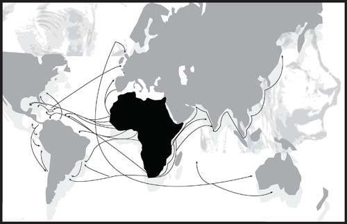 Map of the African diaspora
